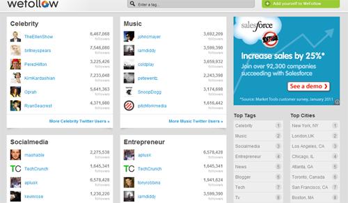 WeFollow Twitter Directory