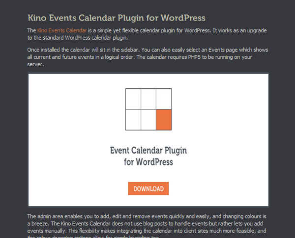 Kino Events Calendar for WordPress