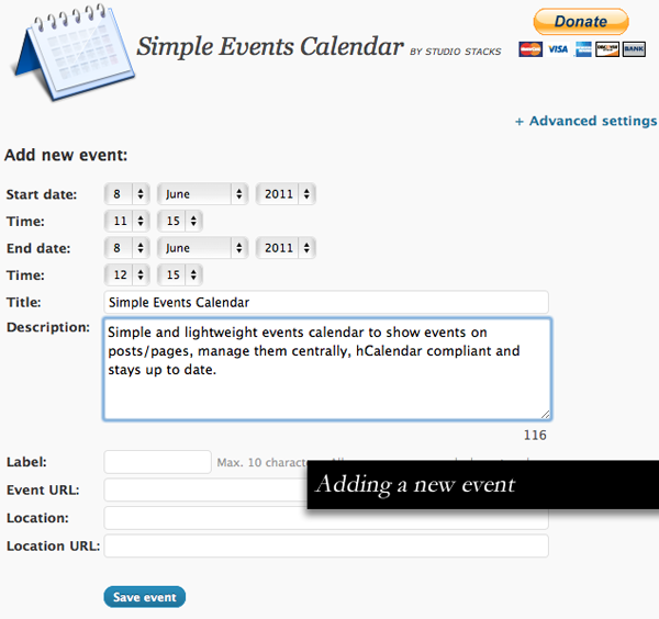 Simple Events Calendar for WordPress