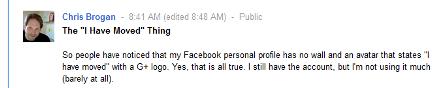 Chris Brogan has left Facebook
