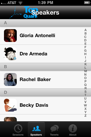 Conference App Speakers Screen Shot